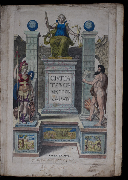 Engraved, hand-coloured part-title-page, 16th century