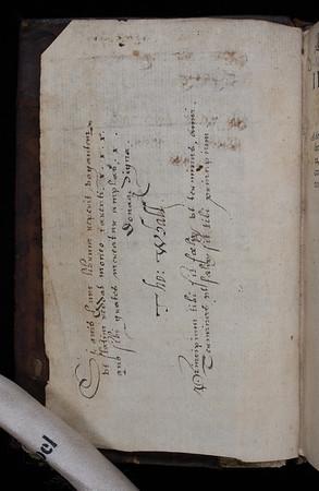 Ownership inscription of Thomas Whall, 16th century