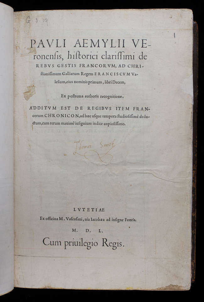 Inscription of Thomas Smith, 16th century