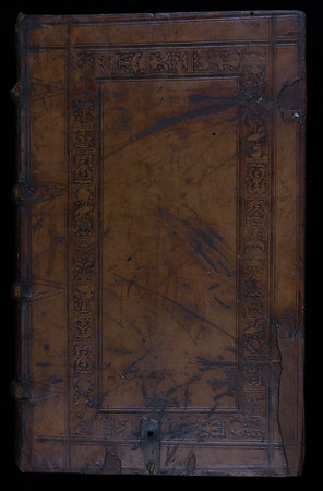 English (London?) blind-stamped sheepskin binding, 16th century