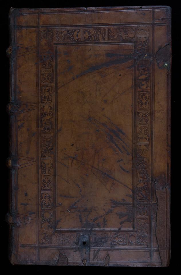 English (London?) blind-stamped sheepskin binding, 16th century