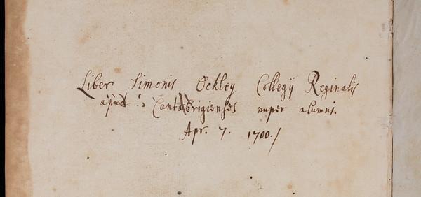 Ownership inscription of Simon Ockley, 18th century