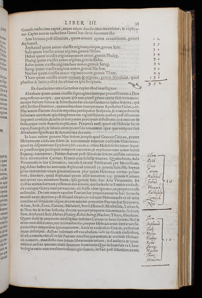 Annotations and manicule, 17th century