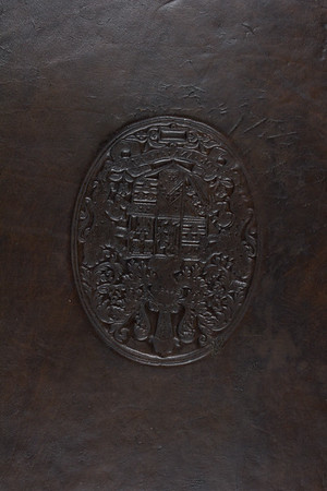 Calf binding with blind armorial stamp of William Cecil, 16th century