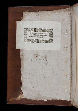 Donor book label of Isaac Wincall, 17th century
