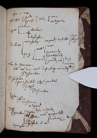 "Notes with small horizontal tree of knowledge on rear flyleaf with heading reading: 'Apo. 1. 20'. <br><br> <b>Author:</b> Aelian <br> <b>Title:</b><i>Variae historiae libri XIV</i> (Paris, 1618)<br> <b>Shelfmark:</b> E.17.30  <a href=""http://idiscover.lib.cam.ac.uk/permalink/f/1nnjft8/44CAM_ALMA21548348670003606""> (catalogue record)</a>"