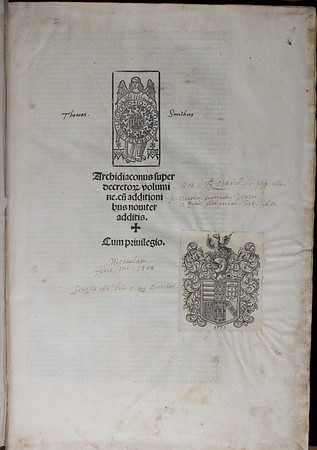 Ownership inscription of Thomas Smith, 16th century