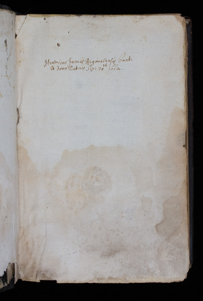 Ownership inscription of Henry James, 17th century
