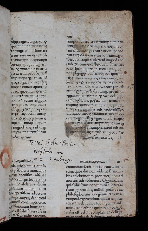 Inscription to bookselller, late 16th century
