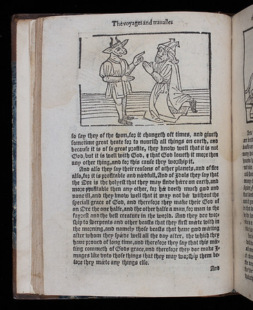 """<b>Author:</b> Sir John Mandeville<br> <b>Title:</b><i> The voyages and travailes of Sir John Mandeville knight</i> (London, 1582?)<br> <b>Shelfmark:</b> M.20.38a  <a href=""""http://idiscover.lib.cam.ac.uk/primo-explore/fulldisplay?docid=44CAM_ALMA21413388760003606&amp;context=L&amp;vid=44CAM_PROD&amp;search_scope=SCOP_QUE&amp;tab=cam_lib_coll&amp;lang=en_US""""> (catalogue record)</a>"""
