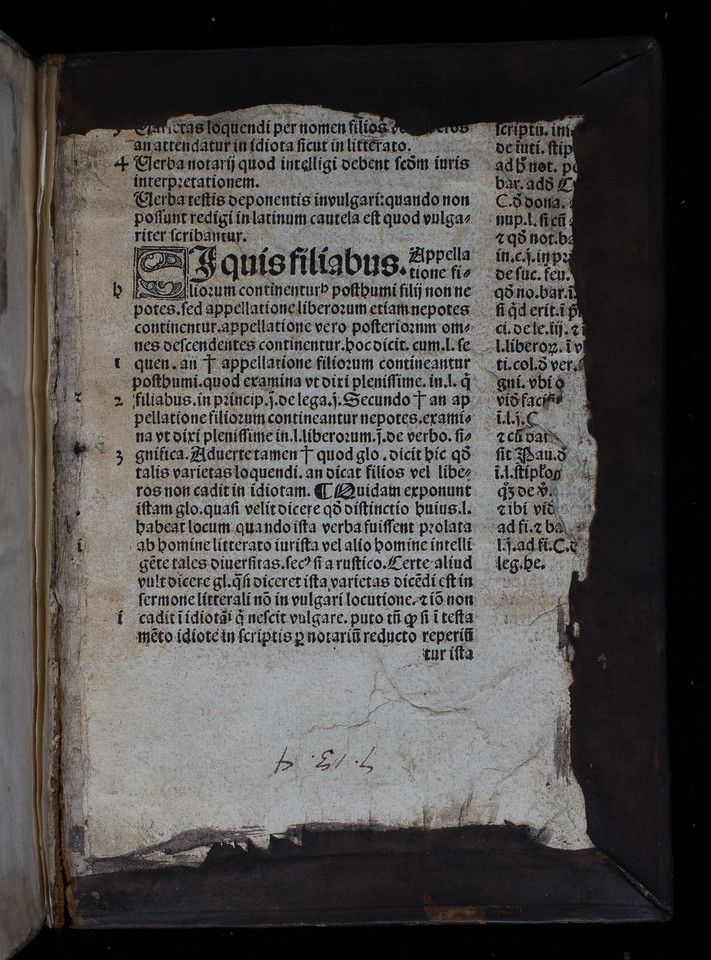 Printed waste from a work on canon law, 16th century
