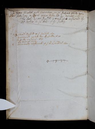 "List of contents in Richard Bryan's hand.  <br><br> <b>Author:</b> Richard Byfield <br> <b>Title:</b><i> The doctrine of the Sabbath vindicated </i> (London, 1631)<br> <b>Shelfmark:</b> E.19.22(1)  <a href=""http://idiscover.lib.cam.ac.uk/permalink/f/1nnjft8/44CAM_ALMA21544587900003606""> (catalogue record)</a>"