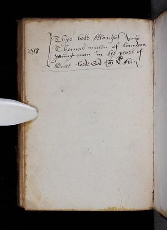 Ownership inscription, 16th century