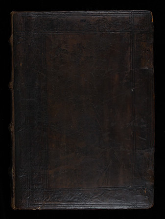 English (Cambridge?) calf binding possibly made   by Garrett Godfrey, 16th century