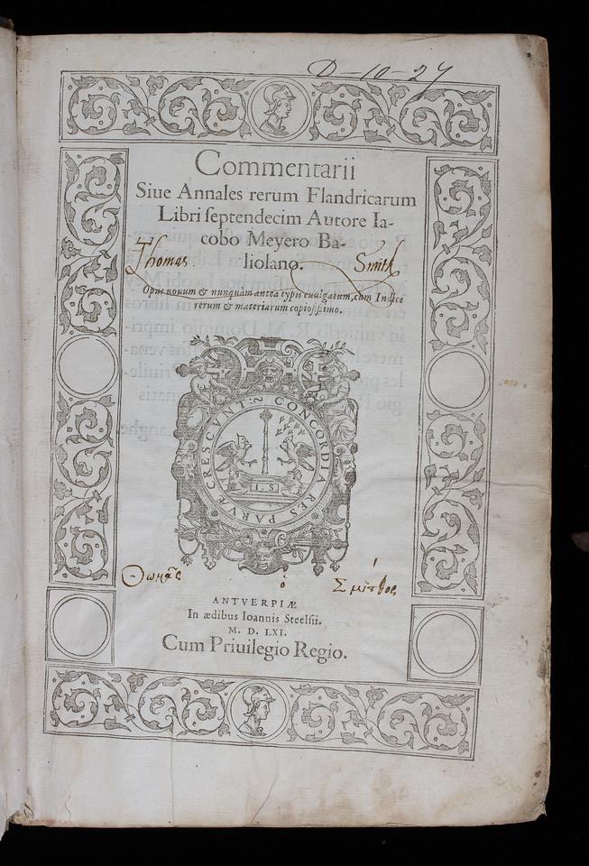 Ownership inscription of Thomas Smith, 16th century