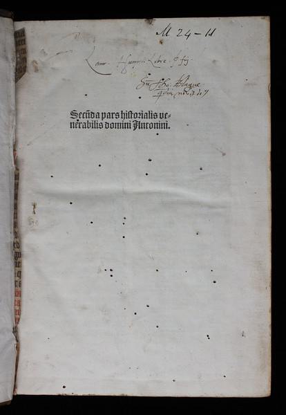 Ownership inscriptions of Laurence Humphrey and Thomas Blague, 16th century