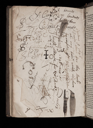 Annotations and pen trials, 17th century