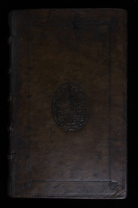 Armorial calf binding with blind-stamp coat of arms of William Cecil
