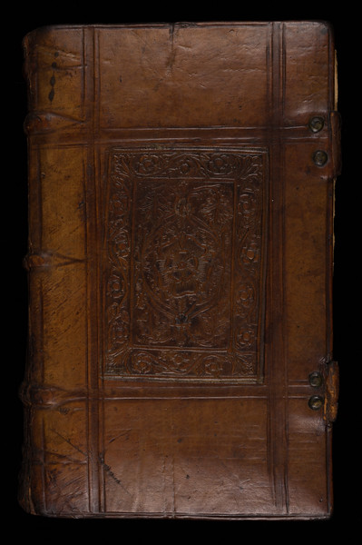 Calf binding with Tudor rose, 16th century