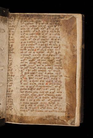 Rubricated manuscript waste, 14th century