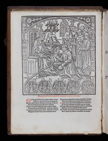 Woodcut of Pope granting audience