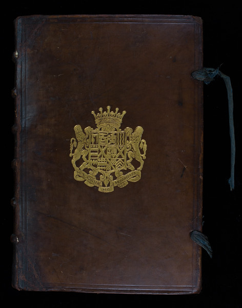 English armorial binding with coat of arms of Henry Hastings Earl of Huntingdon, 17th century