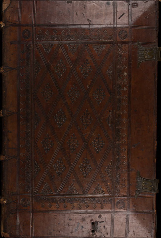Blind-stamped calf binding over wooden boards, 16th century