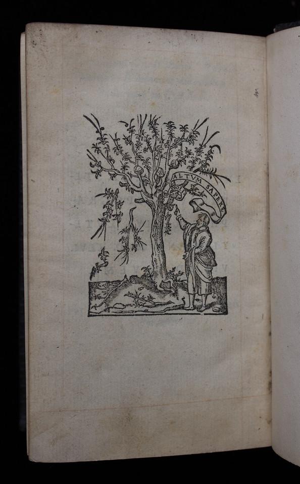 Woodcut printer's device, verso of final leaf.  Title: Nouum Testamentum  (Paris, 1546) Shelfmark: K.17.39   (catalogue record)