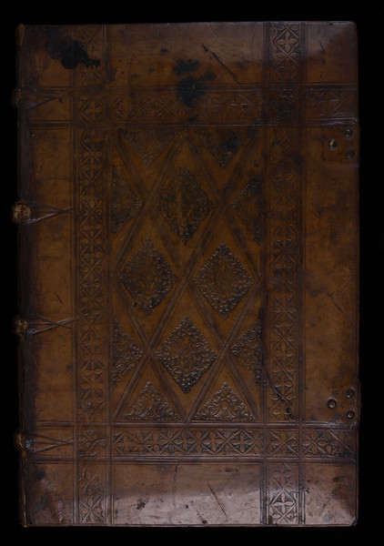 English blind-stamped calf binding, 16th century
