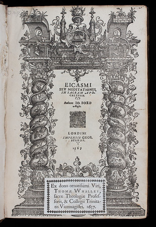 Donor book label of Thomas Whalley, 17th century