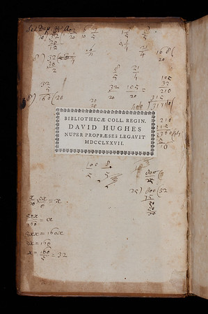 Bookplate and calculations, 18th century