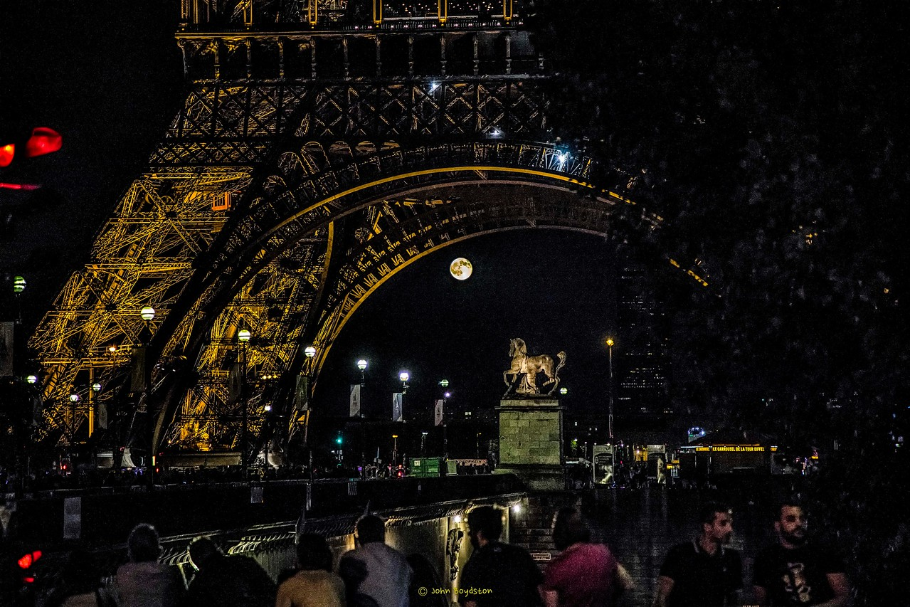Nearly full moon rising in Paris