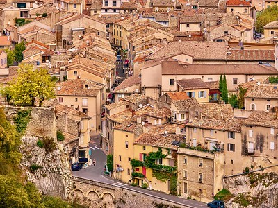 A high angle view of the French town of Vaison-la-Romaine in Provence.