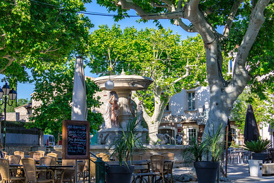 Fountain and Cafe - Center of Maussane-les-Alpilles