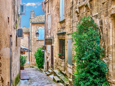 The narrow streets of a picturesque French village.