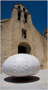 Spaceship? Giant Sea Urchin? Just one sample of an artist's work outside the church in Gigondas.
