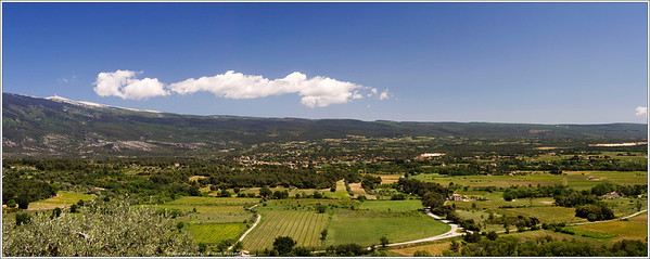 The view from Crillon Le Brave looking east toward Bedoin. That's Mt. Vontoux looming on the left. The weather station located at the top of the mountain is the finish line for one of the final stages of this year's Tour de France; a one-hour bike ride from Bedoin (center of image) for the pro riders, an all day affair for mere mortals. Today, I think we'll be driving.