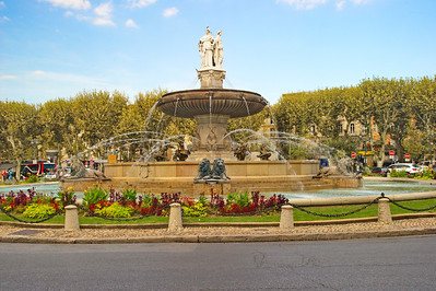 La Rotonde Fountain was erected in 1860.  It is the largest fountain I saw in Aix.  It has three statues which represent Law, facing the city, Agriculture, facing Marseille, and Art, facing Avignon.