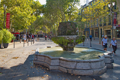 The Cours Mirabeau which is the main pedestrian mall of Aix.  It is where my wife Mary Alice fell and wrenched her knee requiring surgery, hospital stay and superb medical care from the Central Hospital of Aix.