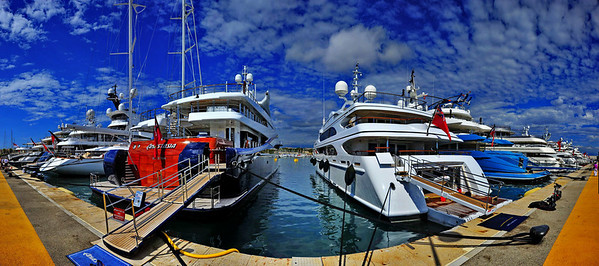 Panorama of Antibes Yacht Basin.....12 of the most expensive yachts in the world docked here.