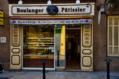 """Aix en Provence:  Mr. Costa is not only a """"boulanger"""" he is also a """"patissier"""" a maker of desserts."""