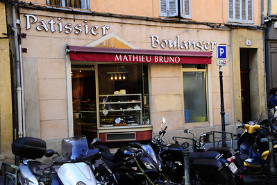 This is not a biker hangout, just a small bakery in Aix en Provence.