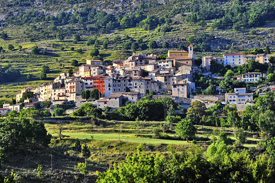 Coursegoules is a small isolated village that sits below Mt. Cheiron north of Grasse.  The photo was taken late in the day.  The light was direct sunlight, soft and from the west.