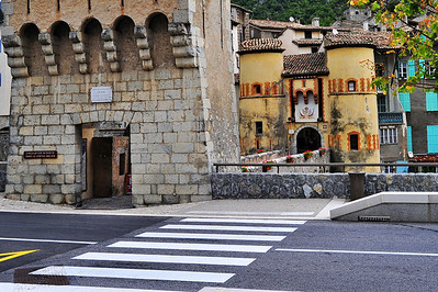 Entrance to the village, across the bridge and draw bridge