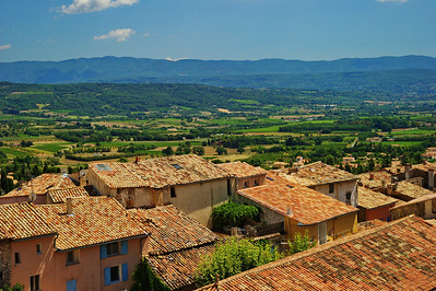 St Saturnin les Apt; rooftops and surrounding valley