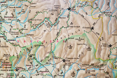 Our route through the Vaucluse started in Gordes (lower left corner).  To get to Gordes from Vence we had to leave early on the morning of 28th July driving down to the A8 and west on the motor-route to Cavaillon, North on D938 to D900 East to the D2 to Gordes.  We arrived in Gordes around 9:00AM.  The sun was still low with beautiful soft light.  See photo.  I regret not going into Gordes but all the fields of lavender were cut around Gordes.  We went on to the Abbey Senanque.  See photos.    Murs was supposed to be where we had a hotel reservation but there was a mix up on the date so we drove north to Sault (upper center of map).  Sault was a great place for lavender.  It supplied all the photos I took of the lavender fields.  I highly recommend you get a good map like the laminated STREETWISE PROVENCE sold by Streetwise Maps, Inc. along with a GPS.  The map will give you the correct name of the village you want to drive to and the GPS will keep you on the right roadway.