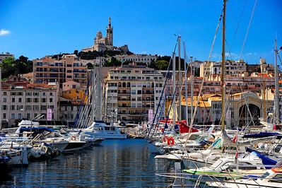 Marseille, France Harbor and Notre Dame de la Garde