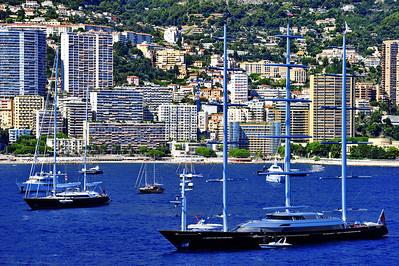 The yacht, Maltese Falcon, anchored off the coast of Monaco in September of 2010