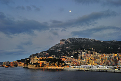 Moon over Monaco The royal palace is the large 4 story building on the left, where Grace Kelly lived.