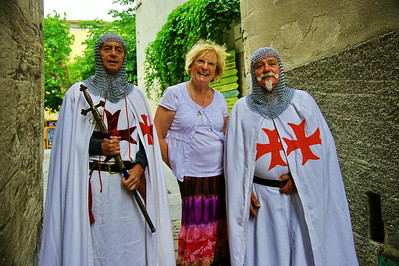 Entrevaux, MA posing with the Knights Templar